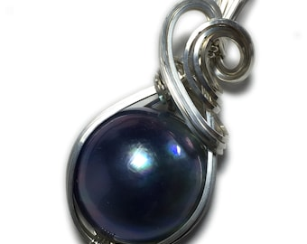 MABE PEARL Pendant Sterling Silver - Blue Black  with Black Leather Necklace Rocks2Rings Wire Wrapped Jewelry BBS