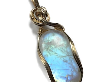 Rainbow Moonstone Pendant Necklace 14k - Gold Filled with Black Leather Necklace Wire Wrapped Jewelry by Rocks2Rings 17g2-6