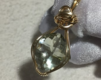 AMETHYST Pendant Green 14k Gold - Filled w/ necklace Wire Wrapped Jewelry 16G2-33