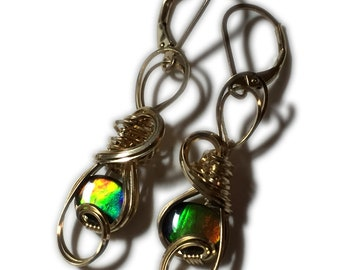 AMMOLITE Earrings, Triplet, Crystal Top -14k Gold Filled, Earrings, 86G5-95