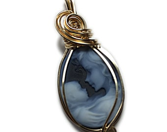 GENUINE Cameo PENDANT 14k Gold Filled Mother and Child Carved Agate w/ Black Leather Necklace Wire Wrapped Jewelry by Rocks2Rings 2518GMC3-6