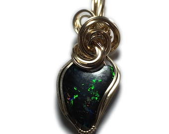 Australian Solid Black Matrix Boulder - Opal Jewelry Pendant 14K Gold Filled, Black Leather Necklace, Elegant Gift Box, Exact Gem in Pic 155