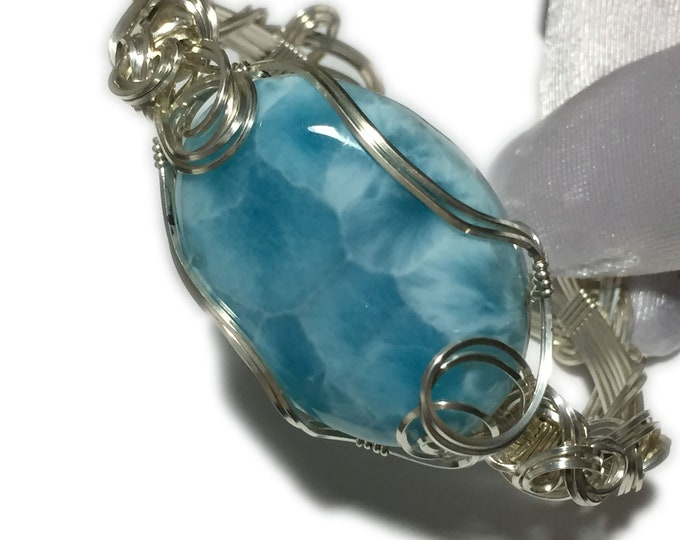 Larimar Bracelet Sterling Silver | Wire Wrapped | Jewelry Bangle | 3726S4-315