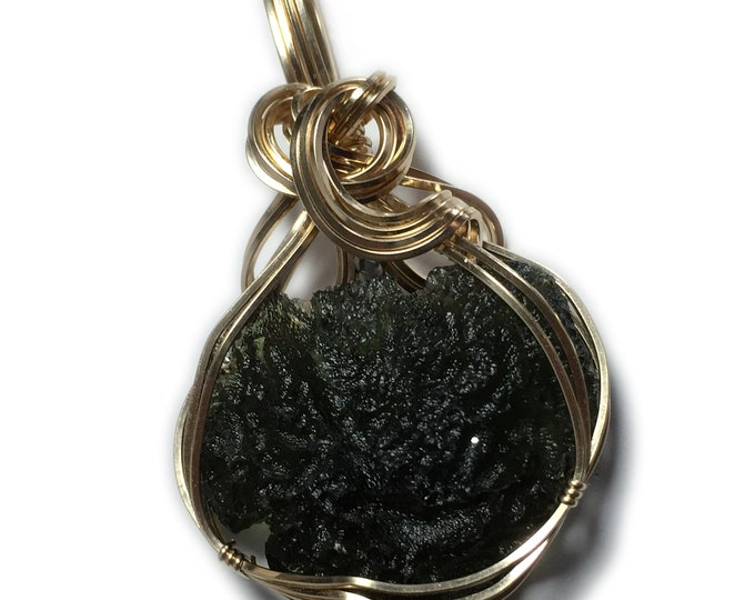 Genuine Czech MOLDAVITE Pendant 14k - Gold Filled Jewelry 29ct with Black Leather Necklace Rocks2Rings Wire Wrapped 2228g4-8