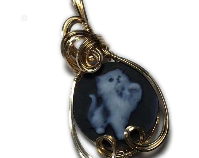Kitten Cameo PENDANT 14k Gold Filled Detailed Carved Cat Agate with Black Leather Necklace Jewelry by Rocks2Rings 20g3-6