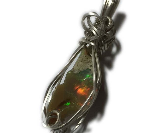 Opal, Opal Pendant, Ethiopian OPAL PENDANT, Sterling Silver, Beautiful Raw Stone, Opal Necklace, Necklace, Jewelry, rough 10.5 ct