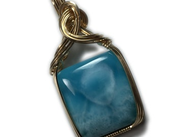 Larimar Jewelry Necklace Pendant Gold - Filled from Dominican Republic with Black Leather Necklace Elegant Gift Box, 21G2-12 Z