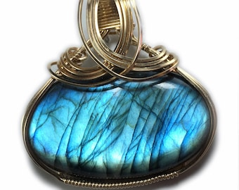 Labradorite Love Pendant Blue Flashes - 14k Gold Filled with Black Leather Necklace  Wire Wrapped Jewelry by Rocks2Rings  1G1 ZP
