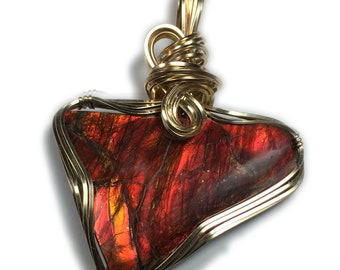 Ammolite Pendant 14k Gold Filled - Red Orange with Black Leather Necklace, Elegant Gift Box, Rocks2Rings Wire Wrapped Jewelry 2423g3-0 Z