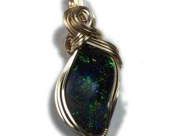 Australian Solid Black Matrix Boulder - Opal Jewelry Pendant 14K Gold Filled  155 Z
