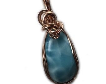 Larimar Jewelry Necklace Pendant Rose - Gold Filled from Dominican Republic with Black Leather Necklace Elegant Gift Box, 40R2-92 Z