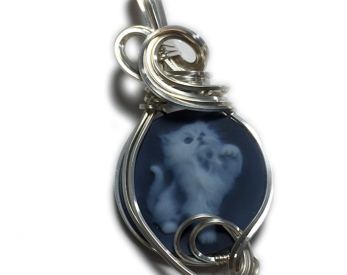 Kitten Cameo Pendant Cat Silver - Sterling Authentic German Carved Agate with Black Leather Necklace Rocks2Rings Jewelry cats