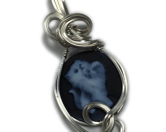 Kitten Cameo Pendant Cat Silver - Sterling Authentic German Carved Agate with Black Leather Necklace Rocks2Rings Jewelry Z