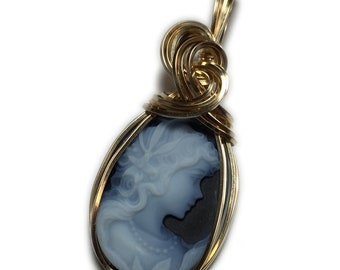 Princess Cameo Pendant 14K Gold - Filled Vintage look, Authentic German Carved Agate with Black Leather Necklace Rocks2Rings Jewelry Lady Z