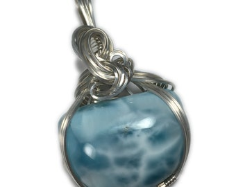 Larimar Jewelry Necklace Pendant - 925 Sterling Silver Deep Blue White with Black Leather Necklace, Elegant Gift Box, 3622s3-02 Z
