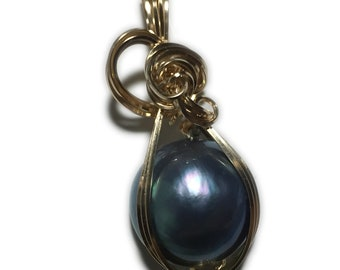 MABE PEARL PENDANT Blue Black - 14k Gold Fill w/ necklace Wrapped Jewelry BB18MP