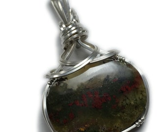 Moss Agate Pendant Necklace Landscape - Sterling Silver with Black Leather Necklace, Elegant Gift Box, Rocks2Rings Wire Wrapped 3615s2 Z