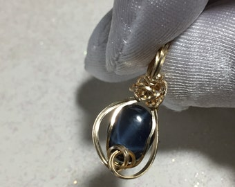 Sapphire Pendant 14k Gold - Fill Midnight Blue w/ necklace Jewelry 119g3-0