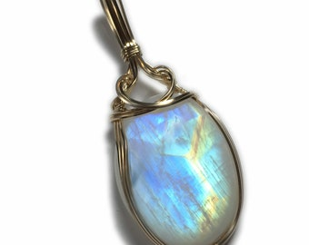 Blue Rainbow Moonstone Pendant Necklace 14k Gold Filled with Black Leather Necklace Wire Wrapped Jewelry by Rocks2Rings 17g2-6 ZP