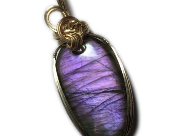 Labradorite Pendant Pink Purple Flashes - 14k Gold Filled with Black Leather Necklace  Wire Wrapped Jewelry by Rocks2Rings 1226g2-8
