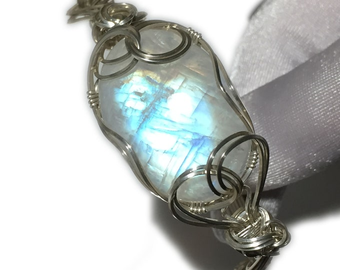 Rainbow Moonstone Bracelet Sterling Silver - Jewelry Bangle 3218S3-218