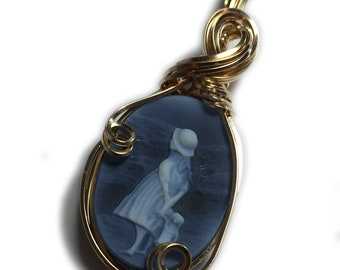Little Girl Cameo Necklace Pendant 14k - Gold Filled Vintage look Authentic German Carved Agate Black Leather Jewelry Rocks2Rings 1GLG3-7