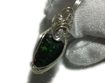 Opal, FAIRY OPAL PENDANT, Black Green, Sterling Silver, Argentium, Opal Pendant, Wire Wrapped, Jewelry, 1015S1-5