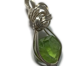 Green Peridot PENDANT Sterling Silver w/ necklace Wire Wrapped 1314S3-3