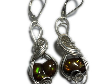 Mexican Fire Agate Earrings - 925 Silver Jewelry Red Amber Fire Flash, Elegant Gift Box, Exact Stones in Picture, Rocks2Rings 117S36