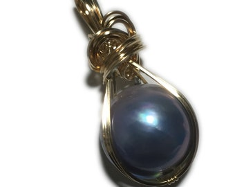 MABE PEARL PENDANT Blue Violet - 14k Gold Fill w/ necklace Wrapped Jewelry MgBV