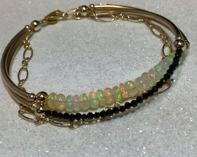 Ethiopian Opal and Spinel Bracelets - Gold Filled tube jewelry