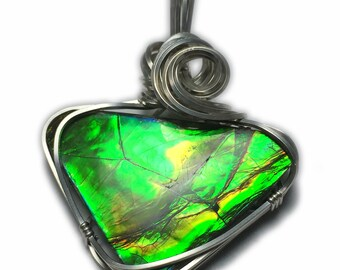 Ammolite Pendant Sterling Silver Jewelry - for Women, Black Leather Necklace Upgraded Elegant Gift Box Exact Gem in Picture  25S1-2 Z