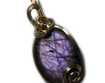 Labradorite, Labradorite Pendant, Pink, Purple, 14k, Gold Filled with Black Leather Necklace, Wire Wrapped, Jewelry 2329g2-2