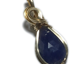 Sapphire Pendant 14k Gold Filled Midnight Blue with Black Leather Necklace Wire Wrapped Jewelry by Rocks2Rings 1712g4-85