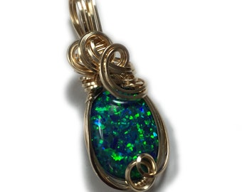Black Opal Necklace Pendant 14K - Gold Filled Jewelry for Women, Lab Created Opal, Elegant Gift Box Rocks2Rings G20 Z