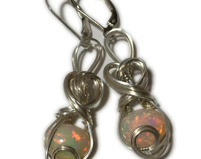 Opal, Ethiopian Opal Earrings sterling Silver, Opal Earrings, Ethiopian Opal, Pinks and Greens 810S7-0