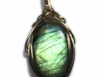 Labradorite Necklace Pendant 14K Gold- Filled Jewelry with Black Leather Necklace Elegant Gift Box Rocks2Rings Wire Wrapped Jewelry G10 Z