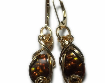 Mexican Fire Agate Earrings 14k - Gold Filled Leverback Rocks2Rings Wire Wrapped Jewelry 3GE3 ZP