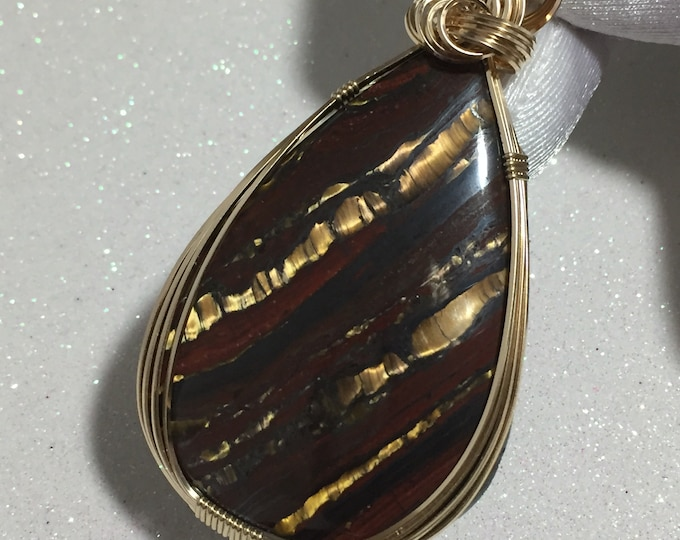 Iron Tiger Pendant - Gold Red - 14k Gold Filled w/ Necklace Jewelry 5540g2-5