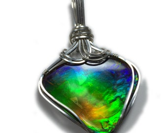 Ammolite Pendant Sterling Silver Jewelry - for Women, Black Leather Necklace Upgraded Elegant Gift Box Exact Gem in Picture  36S7-0 Z