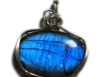 Labradorite Jewelry Pendant Sterling Silver - Blue  77 Ct w/ Black Leather Necklace Elegant Gift Box Wire Wrapped Rocks2Rings 2843s1-8