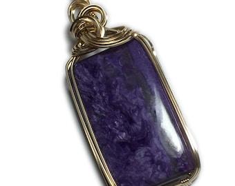 Charoite Crystal Pendant 14K Gold - Filled 69 Ct Purple Gemstone Remove Negativity, Black Leather Necklace Jewelry, Elegant Gift Box 4G2-5