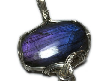 Labradorite  Purple Fire 925 Sterling Silver Pendant Jewelry With Black Leather Necklace 3747S2-6