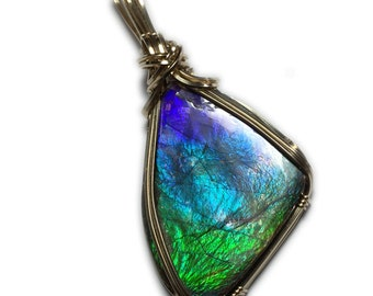 AMMOLITE PENDANT 14k Gold Filled - Blue Purple Green with Black Leather Necklace Rocks2Rings Wire Wrapped Jewelry 2827g3-62