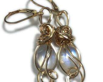 Moonstone Earrings 14K Gold Filled - Rainbow for Women or Men Jewelry, Elegant Gift Box, Rocks2Rings 108G2-7 Z