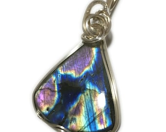 LABRADORITE, LABRADORITE PENDANT, Blue, Labradorite necklace, Sterling Silver, Wire Wrapped, Jewelry, 2348s1-5