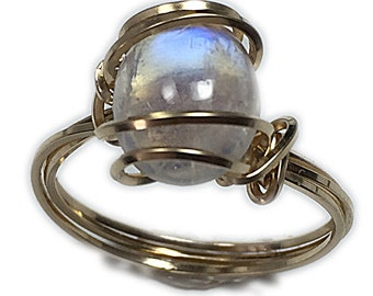 Blue Moonstone Ring 14K Gold - Filled 11 x 9 mm Gemstone, Elegant Gift Box Wire Wrapped Jewelry 1G8 Z