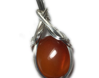 Carnelian Crystal Necklace Pendant 925 - Sterling Silver Deep Orange Pendant, Leather Necklace, Exact Gem in Picture Elegant Gift Box S182 B