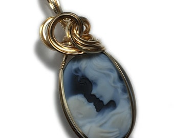 Cameo Pendant 14K Gold Filled - Mother and Baby with Black Leather Necklace, Wire Wrapped Jewelry by Rocks2Rings 1825g3-6 Z