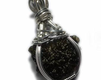 Genuine Czech MOLDAVITE Crystal Necklace Pendant 925 Silver Czech Republic Tektite Reiki, Exact Stone in Picture Wire Wrapped 3s8